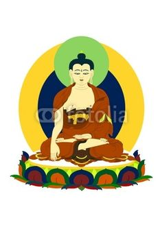 Vector illustration : Buddha Siddhartha Gautama Shakyamuni in Tibetan traditional style