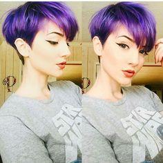 Who loves a purple pixie & a fierce wing liner Undercut Hairstyles, Pixie Hairstyles, Pixie Haircut, Cool Hairstyles, Haircuts, Short Purple Hair, Short Hair Cuts, Short Hair Styles, Pixie Cuts