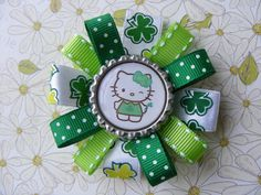 St. Patty's Day Hair Bow/ Hello Kitty