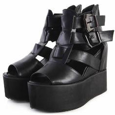 Black Leather Ankle Strap Platform Gothic Fashion Sandals Women SKU-11405471