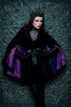 Black ''Reginam Malam'' Gothic Couture Beaded by livfreecreations #raven queen
