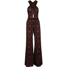 M Missoni Wide-leg cotton-blend crochet-knit jumpsuit ($640) ❤ liked on Polyvore featuring jumpsuits, rompers, dresses, playsuit, wide leg romper, multi colored jumpsuit, sheer jumpsuit, romper jumpsuit and playsuit jumpsuit