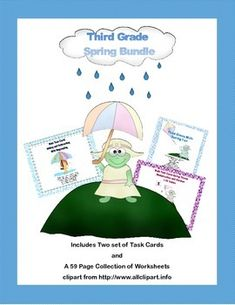 This charming math bundle gives you a total of 96 task cards and a comprehensive review in a collection of spring themed worksheets.  The collection includes:  Math Task Cards-Adding and Subtracting With Regrouping-Spring Theme  Task Cards for Multiplication and Division Practice Grades 3-4 Spring Theme  Third Grade Math Review- Worksheets that Address 5 of the CCSS Spring Theme-59 pages  Student worksheets and answer keys are provided.