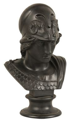 "A black basalt Wedgwood bust of Minerva. CIRCA: 19th Century DIMENSIONS: 18"" h PRICE: $5,400"