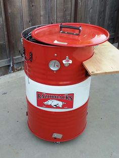 My Arkansas razorback uds smoker. Just finished it. Now its time to season it to use this weekend. Took me a little bit to get it done. But well worth the wait. Uds Smoker, Bbq Pit Smoker, Barrel Smoker, Barbacoa, Ugly Drum Smoker, Pit Barrel Cooker, Brick Bbq, Charcoal Smoker, Homemade Smoker