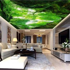 beibehang visual personality wallpaper looking up fresh air woods zenith decorative painting backdrop wallpaper for walls 3 d Paper Wallpaper, Custom Wallpaper, Wall Wallpaper, Adhesive Wallpaper, Ceiling Murals, Wall Murals, Wall Art, Star Ceiling, White Clouds