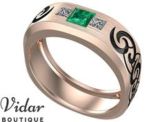 Mens Wedding Band,Unique Men's Ring,Emerald Wedding Band For Men's,Princess Cut Men's Ring For Wedding,Vidar Boutique Ring,3 Stone Man Ring