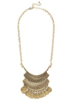 Eclectic Collector Necklace - Solid, Chain, Tiered, Casual, Girls Night Out, Boho, Statement, Urban, Darling, Gold