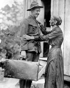 U.S. soldier Alvin York with his mother Mary York, c. 1919.