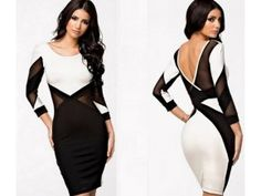 IDress Hot New Style White & Black Patchwork Hollow Out Bandage Bodycon Dress Vestitios Backless Sexy Club Long Sleeve Dresses Bodycon Dress, Lace, Sexy, Evening Party, Dresses, Party Dress, Women, Style, Products