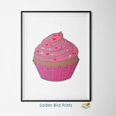 Pink Glitter Cupcake - Printable Wall Art - Art Print - Digital Art Printable - Home Decor - Instant Download