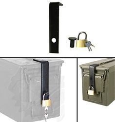 Ultimate Arms Gear Mil-Spec Ammo Can Steel Safe Lock Fits 60mm 40mm 20mm 50 cal and 30 cal Box Cans 3pc Hardware Kit System Includes L-Shaped Bracket Hinge Bolt & Lock with Keys