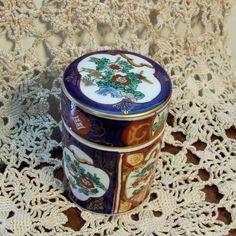 Japanese Cigarette Jar, Gold Porcelain Trinket Jar, Gold Imari, Colorful Cigarette Jar, Colorful Trinket Jar, Imari imperial Fine Porcelain by BeautyMeetsTheEye on Etsy