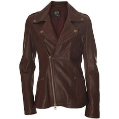 McQ Alexander McQueen Oxblood Leather Biker Jacket ($550) ❤ liked on Polyvore