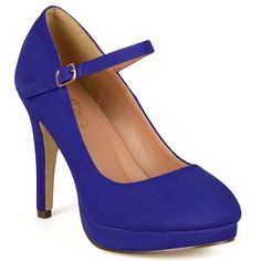 Express your style in platform Mary Jane pumps by Journee Collection. These high-heels shoes highlight smooth micro-suede uppers with a platform style and a dainty strap with a buckle accent across the vamps.