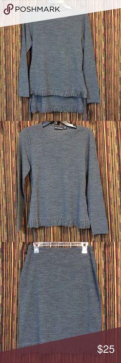 "Nina Leonard Sweater Set Unique fringed  belted sweater and skirt set. 100% acrylic. Sweater is 23"" long and skirt is 23"" long. Smoke free home. Nina Leonard Skirts Skirt Sets"