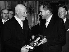 U.S. Vice President Richard Nixon, visiting Vienna in 1956, presents Austrian Federal President Theodor Körner with a picture of U.S. President Dwight D. Eisenhower. U.S. Ambassador Llewellyn E. Thompson (1952-1957) stands next to Vice President Nixon..  (ÖNB/E8/20)