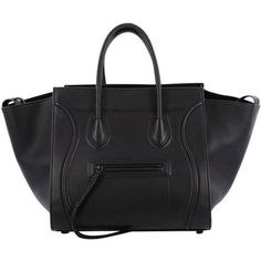 Preowned Celine Phantom Handbag Grainy Leather Medium ($1,915) ❤ liked on Polyvore featuring bags, handbags, tote bags, black, totes, celine handbags, purse tote, celine tote, man tote bag and leather purses