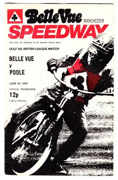 Speedway: Belle Vue Aces v Wimbledon July Bike Poster, Motorcycle Posters, Motorcycle Art, Bike Art, Speedway Motorcycles, Speedway Racing, Vintage Bikes, Vintage Motorcycles, Manchester