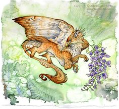 A lady gryphon; a reflection of the beauty and grace of the wisteria branch she holds. She is either a very small gryphon, or lives in a land with huge wisteria blooms. Fantasy Creatures, Mythical Creatures, Mermaids And Mermen, Dragon Art, Fairy Land, Painting Inspiration, Tattoo Inspiration, Style Inspiration, Wisteria
