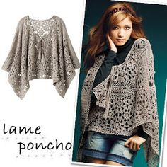 PONCHO (Spanish web site but provides charted diagrams for crochet pattern) Poncho Au Crochet, Crochet Poncho Patterns, Crochet Shawls And Wraps, Crochet Jacket, Crochet Scarves, Crochet Clothes, Crochet Stitches, Crochet Vests, Crochet Edgings