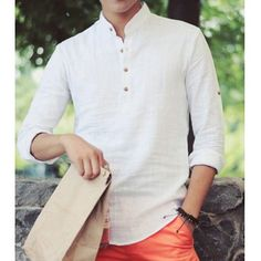 Stylish Stand Collar Slimming Solid Color Button Design Long Sleeve Cotton+Linen T-Shirt For Men