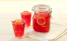 Snack: Epicure's Sparkling Ruby Lemonade calories/serving) Easy Mocktail Recipes, Iced Tea Recipes, Easy Summer Meals, Healthy Summer Recipes, Epicure Recipes, Cooking Recipes, Gluten Free Menu, Good Food, Yummy Food