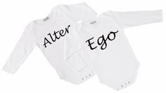 Twin Onesies Alter Ego 2 by myTwinsCollection on Etsy Love Twins, Expecting Twins, Family Outfits, 2nd Baby, Twin Babies, Alter Ego, Coloring For Kids, White Long Sleeve, Baby Shower Gifts
