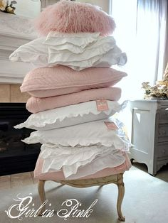 Girl in Pink: A Little Princess Window Display - Stacks of ruffled linens!  #shabbychic
