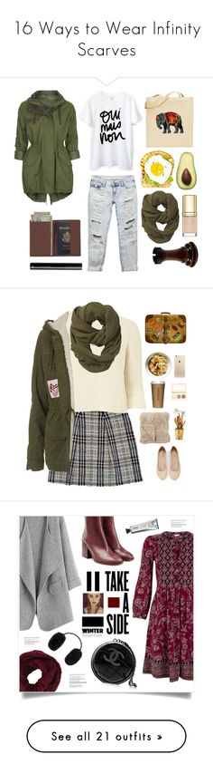 """""""16 Ways to Wear Infinity Scarves"""" by polyvore-editorial ❤ liked on Polyvore featuring infinityscarf, waystowear, Topshop, Wet Seal, Athleta, Royce Leather, Dolce&Gabbana, Burberry, Express and River Island"""