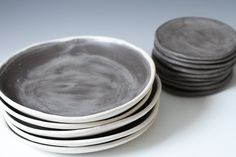 """8.6"""" Charcoal and White Stoneware Shallow Bowls - Plates, 8 5/8 inches wide - stone ware handmade ceramic plate set. $53.00, via Etsy."""
