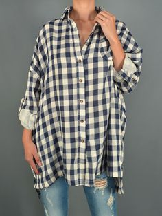 Cozy oversized rolled up sleeves plaid shirt! Fits a little big   Roll Up Sleeve Oversized Plaid Shirt 100% Cotton MADE IN CHINA   EST delievery date 10/27
