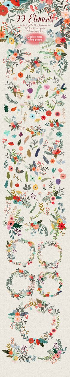 Illustrations Product Images ~ Country Flowers ~ Creative Market