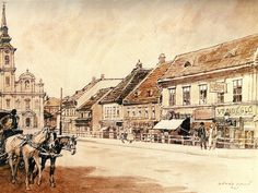 TABÁN ANNO Hungary, Tao, The Past, Landscapes, Painting, Vintage, Google, Budapest Hungary, Paisajes