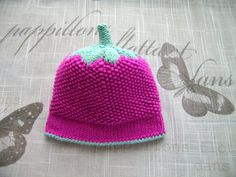 Handmade Baby girls HAT, for Newborn Girl, NEWBORN - 6 Months, hand-knitted fancy pattern hot pink hat with light green leaf and stump by ramutez on Etsy