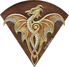 """Fan Dragon - Cast Paper - Fantasy art -Gold Dragon - Drake - Draco - winged dragon - paper dragon - wall art. Fan Dragon This piece was originally sculpted as a repeating piece for the Dragon Shield Piece. I liked it so much I designed a unique mat for it and made it its own piece. The frame dimensions are 12"""" x 12"""" About Mat Options All Mats are acid free and this work includes the mat of your choice. See the pictures above to select your mat. Your piece will be painted to best match…"""