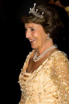 Princess Margriet of the Netherlands after the gala dinner for the members of the Corps Diplomatique at the Royal palace in Amsterdam