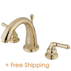 """Two Handle 8"""" to 16"""" Widespread Lavatory Faucet with Brass Pop-up Polished Brass KS2962"""