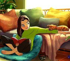 Girl Cartoon, Cartoon Art, Illustrations, Illustration Art, Character Art, Character Design, Alone Art, Girl And Dog, Anime Art Girl
