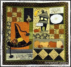 """This was a Halloween """"Mystery"""" quilt from """"My Girlfriends Quilt Shop"""" Super fun to make! Halloween Quilts, Halloween Quilt Patterns, Halloween House, Halloween Crafts, Whimsical Halloween, Halloween Sewing, Halloween Ideas, Happy Halloween, Halloween Party"""