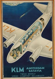 Rare use of a cutaway in a poster illustrates how different the cabin configurations used to be.