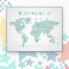 Large world map poster  Kids world map art by PrintableChangeable