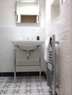 shower room, metro tiles, Fired Earth, patisserie tiles VIA From the Poolside blog