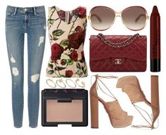 """""""street style"""" by sisaez ❤ liked on Polyvore featuring Frame Denim, NARS Cosmetics, Dolce&Gabbana, NYX, Aquazzura, Chanel, Marc Jacobs, ASOS, women's clothing and women's fashion"""