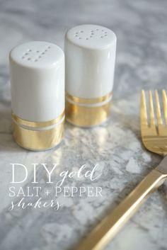 DIY gold salt + pepper shakers