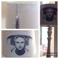 Made-by-An. Lampenkap met fotoprint Zeeuws meisje en op achterkant veer met schelpen uit Westenschouwen.