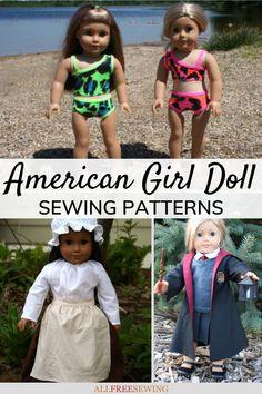 30+ American Girl Doll Sewing Patterns (Free!) Doll Dress Patterns, Sewing Patterns For Kids, Sewing Projects For Kids, Sewing For Kids, Clothing Patterns, Sewing Crafts, Girl Doll Clothes, Girl Dolls, American Girl Diy