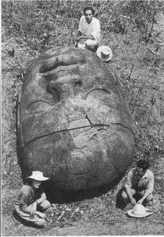 The enormous Olmec helmeted heads. The Olmec are now recognized as the predecessors of the Maya and Aztec civilisations. Photograph taken in 1942.