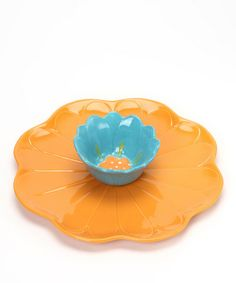 Take a look at this Orange Flower Chip & Dip Plate by Dennis East International on #zulily today!
