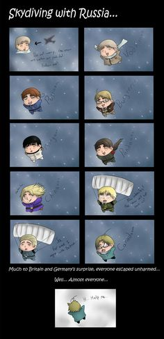 Skydiving with Russia... by LawFleige.deviantart.com on @deviantART. Poor Canada...
